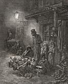 Poverty stricken citizens of Houndsditch, East End, London. After an engraving by Gustave Dore in the book London: A Pilgrimage by Gustave Dore and Bl...