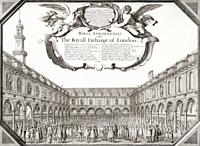 The Royal Exchange of London in the mid 17th century. After an etching by Wenceslaus Hollar dated 1644.