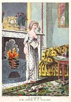 Luxury, or the Comforts of a Rum p ford. After an etching by Charles Williams dated circa 1801. The picture is a satire on an advertisement for Rumfor...