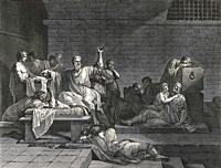 The death of Socrates. From an engraving by Jean François Pierre Peyron.
