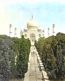 The Taj Mahal, Agra, Uttar Pradesh, India in the mid-19th century. Detail of a photograph by English photographer Samuel Bourne, 1834 - 1912. Later co...
