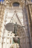 Statue of the Giraldillo. This weathervane represent the triumph of the Christian faith on the top of La Giralda. Replica. Seville, Spain.