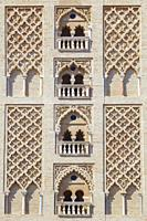 Exterior brick decoration of The Giralda tower. Built as the minaret for the Great Mosque in al-Andalus. Spain. Central section.