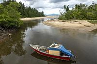 Small fishing boat berthed at Kem Pueh, Sematan, Sarawak, East Malaysia