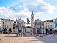 The Church of Santa Cristina (Left), the Church of San Carlo (right) and The Equestrian monument of Emmanuel Philibert in Piazza San Carlo - Turin, It...