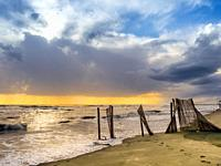 Coastal scene of Ostia Lido - Rome, Italy.