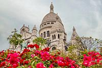 France, Paris. Cloudy evening near the Cathedral Sacre-Coeur. Red roses in the foreground.