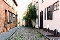 Narrow street in the old town of Lubeck.