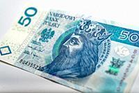 polish banknote paper money 50 PLN zloty.