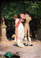Simm Franz Xaver - a Stroll in the Park - Austrian School - 19th Century.