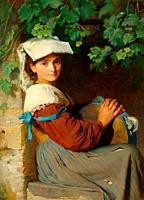 Simm Franz Xaver - an Italian Woman with a Tambourine at a Window - Austrian School - 19th Century.
