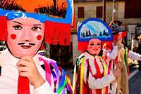 Chocalleiros. Traditional mask of the Entroido in Vilardevos, Orense, Spain