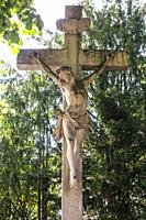 Borken, D-Borken, Hohe Mark Westmuensterland Nature Park, Muensterland, Westphalia, North Rhine-Westphalia, NRW, wayside cross, stone cross, crucifix ...