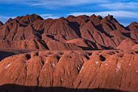 Eroded landscape in the Desierto del Diablo in the Los Colorados area, in the town of Tolar Grande in the province of Salta in La Puna Argentina. Arge...