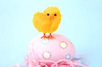 Orange chick standing on a pink Easter egg.