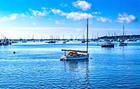 Catboat Sailboats Padanaram Harbor Boats Moorings Motor Boats Buzzards Bay Dartmouth Massachusetts. . .