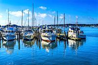 Motor Boats Padanaram Harbor Sailboats Buzzards Bay Dartmouth Massachusetts. . .