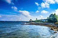 Entrance Padanaram Harbor Beach Buzzards Bay Dartmouth Massachusetts.