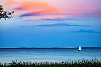 Sunset View from Mom's Padanaram Deck Summer Sailboat Buzzards Bay Dartmouth Masschusetts . . .