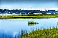 Green Marshland Sailboats Padanaram Harbor Boats Moorings Motor Boats Buzzards Bay Dartmouth Massachusetts. . .
