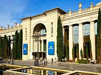 Exterior shot of the Fira Barcelona, a popular venue for trade shows and congresses in Barcelona - Catalonia, Spain. The Fira Barcelona is one of the ...