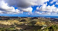 Panoramic viewpoint from Bandama across to Las Palmas de Gran Canaria and its surroundings, Canary Islands, Spain.