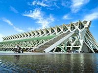 The Science Museum (Museu de les Ciències) designed by architect Santiago Calatrava in the City of Arts and Sciences complex, Valencia, Spain.