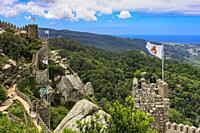 View from the perimeter of the Moorish Castle ruins (Castelo de Mouros), Sintra, Lisbon, Portugal, Europe.