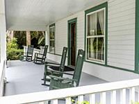 Porch of Guptill House at Historic Spanish Point in Osprey Florida in the United sTates.