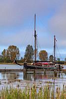 Sailing ship Providence docked at the Britannia Ship Yard in Steveston British Columbia Canada.