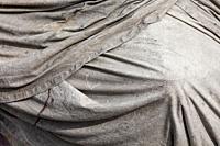 Abstract image of a folded tarp covering equipment at the Britannia Ship Yard Steveston British Columbia Canada.