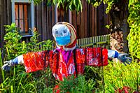 Halloween scarecrow dressed in a Japanese kimono with a face mask in the Murakami Garden in Steveston during the Covid 19 pandemic British Columbia Ca...
