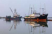 Canadian fishing vessel Viking Cavalier passing the Vicki K fish boat docked in Steveston British Columbia Canada.