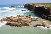 Praia das Catedrais (Cathedral beach), Natural Monument. Ribadeo, Lugo province, Galicia, Spain.