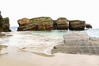 Praia das Illas (Islands beach), high tide. Ribadeo, Lugo province, Galicia, Spain.