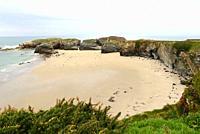 Praia das Illas (Islands beach), low tide. Ribadeo, Lugo province, Galicia, Spain.