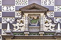 Richly decorated entrance at the Haus zum Stockfisch. The Haus zum Stockfisch, built in 1607, has been the town museum since 1994. The town house was ...