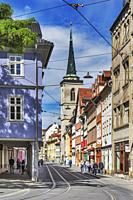 View from the Fischmarkt (fish market) over the Marktstrasse to the catholic All Saints Church, Erfurt, capital of Thuringia, Germany, Europe.