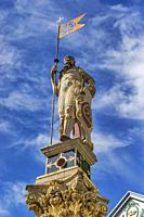 In the middle of the fish market there is a column with a statue in the shape of a Roman warrior. The column was erected in 1591, Erfurt, capital of t...