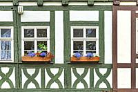 Detailed view of the truss and windows of the Kraemerbruecke (Merchants bridge). The Kraemerbruecke is located in the old town of Erfurt, capital of t...