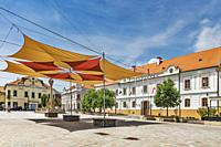 The town hall (Varoshaza) was built in 1769 according to plans by Christoph Hofstaedter. It is located on the main square Fo Ter in Keszthely, Zala co...