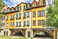View from the south to the half-timbered houses of the Kraemerbruecke (Merchants bridge). The Kraemerbruecke is located in the old town of Erfurt, cap...