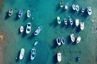 Aerial view of little fishing colorful boats in Tajao, Tenerife, Canary Islands. High quality photo.