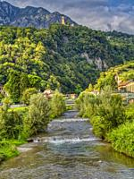 River Cuzzio at Porlezza, Como Province, Lombardo, Italy.