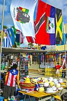 Souvenirs Stand. Carnival of Miami. Florida. USA.
