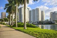 Brickell Park and Brickell Key. Downtown Miami. Florida. USA.
