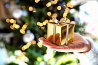 Close up of hand holding a golden gift box with Christmas tree and lights on the background, present and Christmas holiday concept sparkle background.