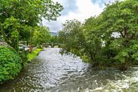 River Colwyn flowing throgh Beddgelert North Wales UK August 2020.