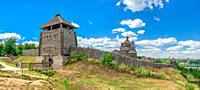 Zaporozhye, Ukraine 07. 20. 2020. External walls, wooden fence and watchtowers of the National Reserve Khortytsia in Zaporozhye, Ukraine, on a sunny s...