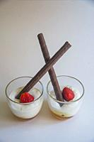 Yoghurt cream with honey, strawberry and chocolate biscuits.